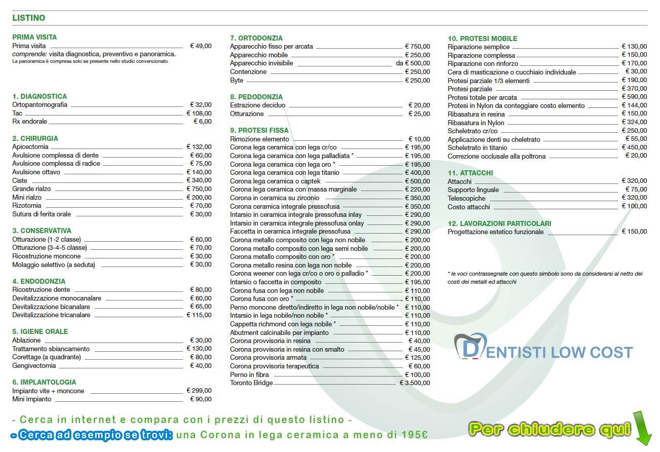 Apparecchio fisso costo for Fakro listino prezzi